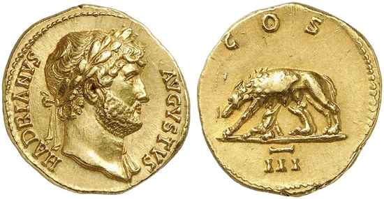 Aureus Hadrian Lupa Romana